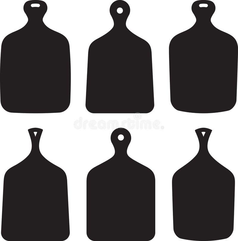 Sistema de seis siluetas de las tablas de cortar de la cocina del vector aisladas encendido ilustración del vector