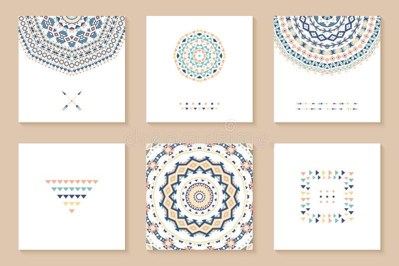 Sistema de seis tarjetas con diseño étnico ilustración del vector
