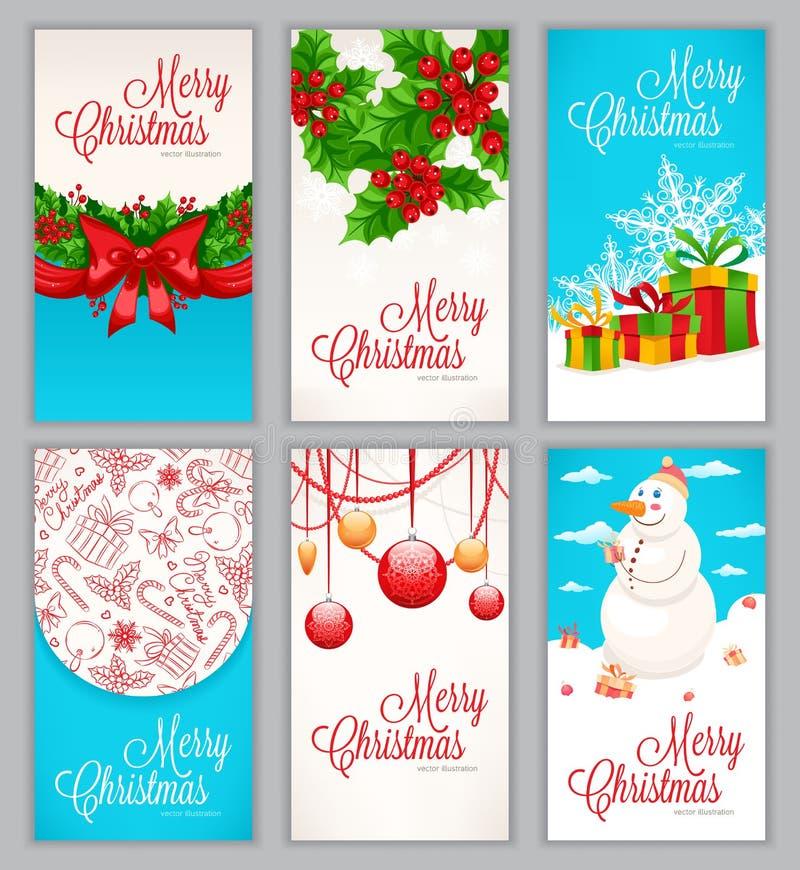 Sistema de seis tarjetas de Navidad ilustración del vector