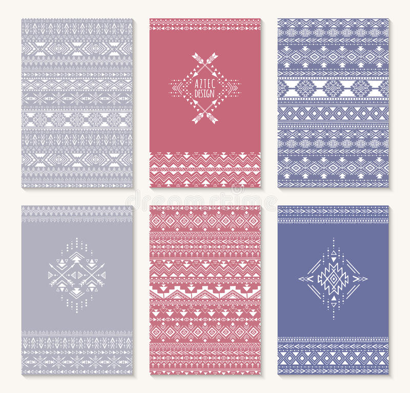 Sistema de seis tarjetas, diseño étnico stock de ilustración