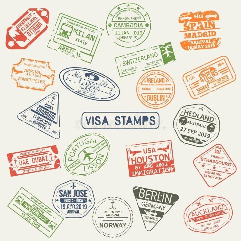 Sistema de sellos aislados del pasaporte de la visa ilustración del vector
