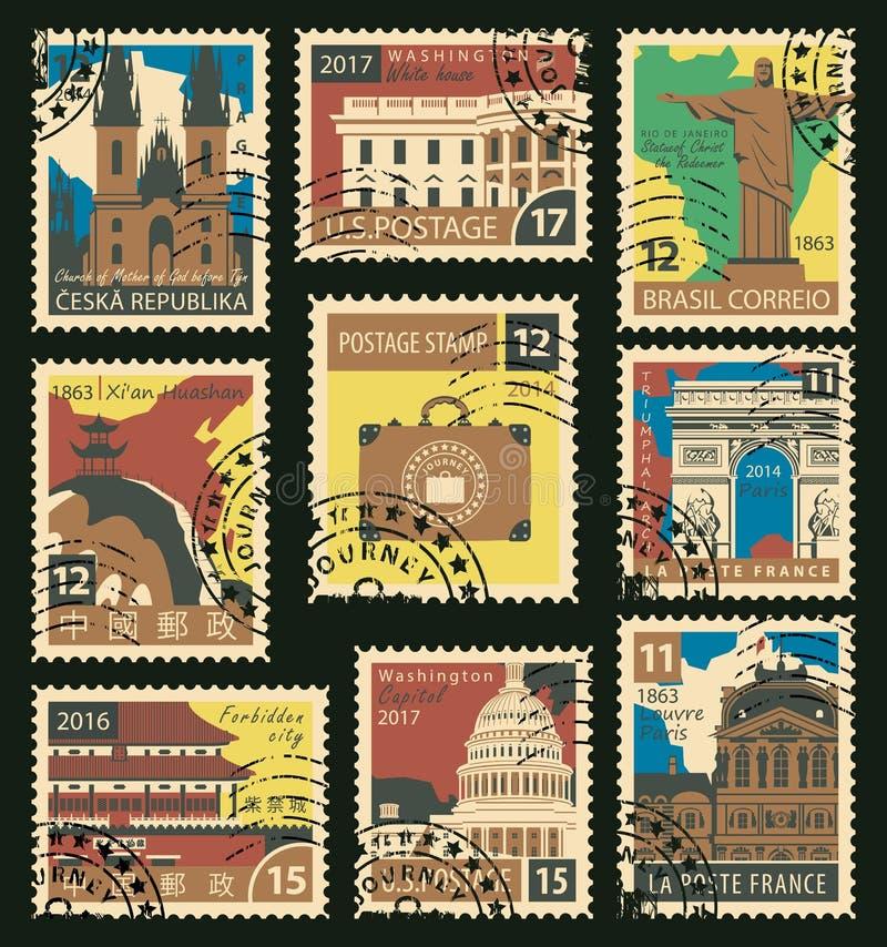 Sistema de sellos en el tema del viaje libre illustration