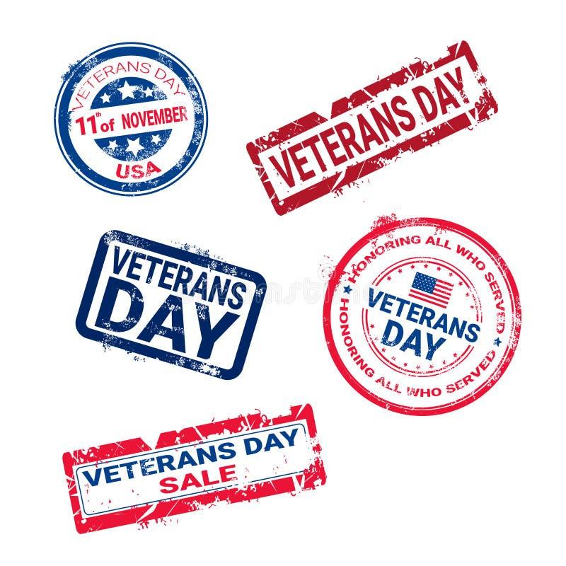 Sistema de sellos de goma del Grunge con la insignia del día de los veteranos en el fondo blanco, colección retra de las etiqueta ilustración del vector
