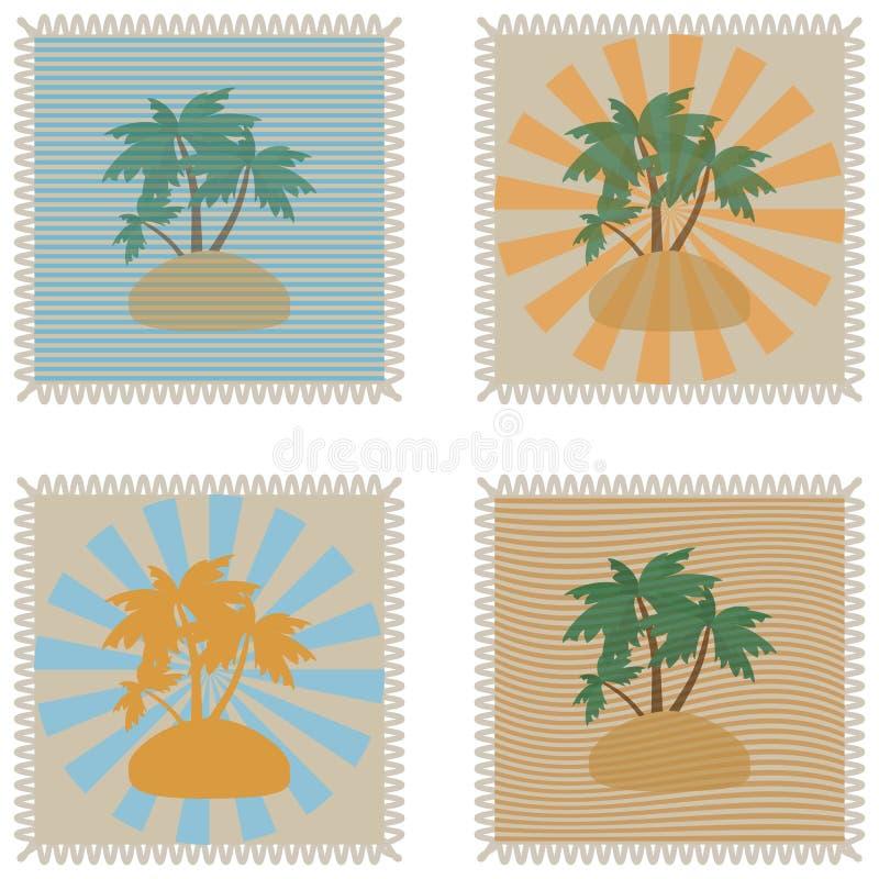 Sistema de sellos tropicales del verano del grunge y con el lugar para su texto dentro del ejemplo del vector libre illustration