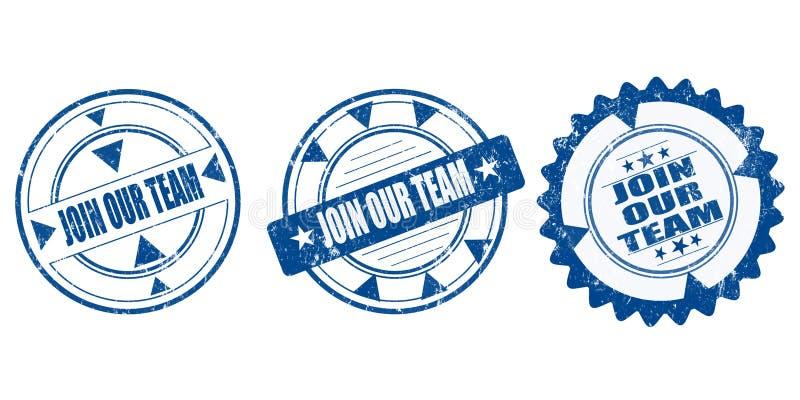 Sistema de sellos unirse a nuestro sello rasguñado redondo azul del grunge del equipo stock de ilustración