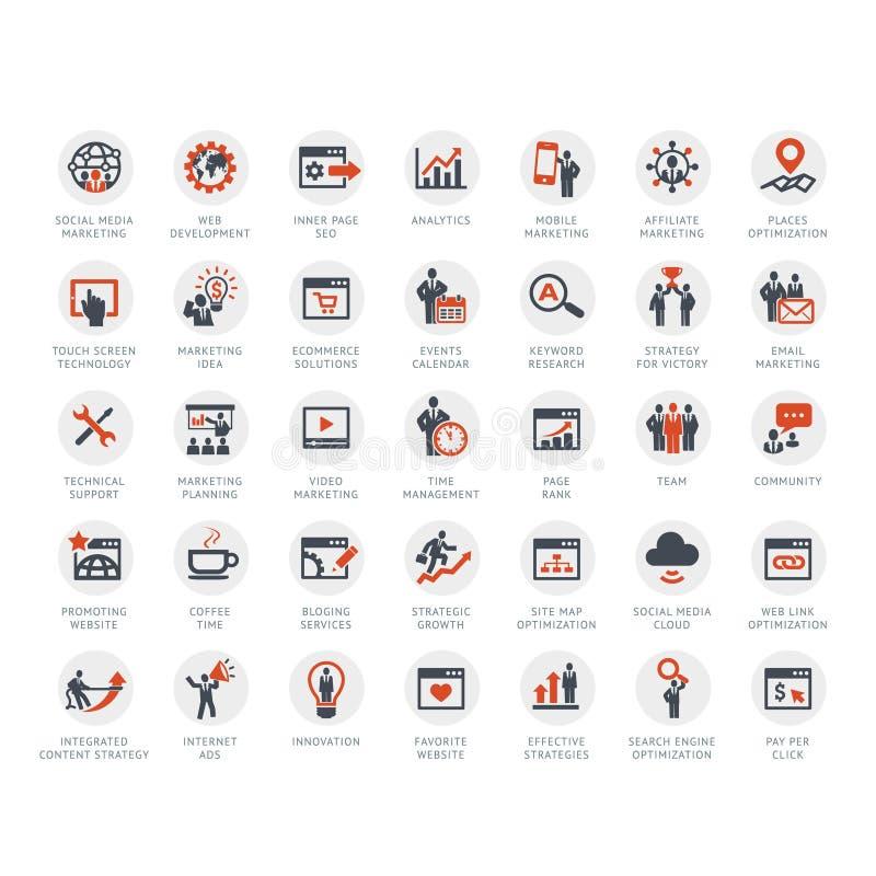 Sistema de SEO y de iconos del márketing stock de ilustración
