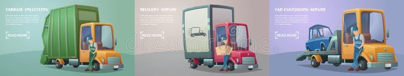 Sistema de servicios retros del camión ilustración del vector