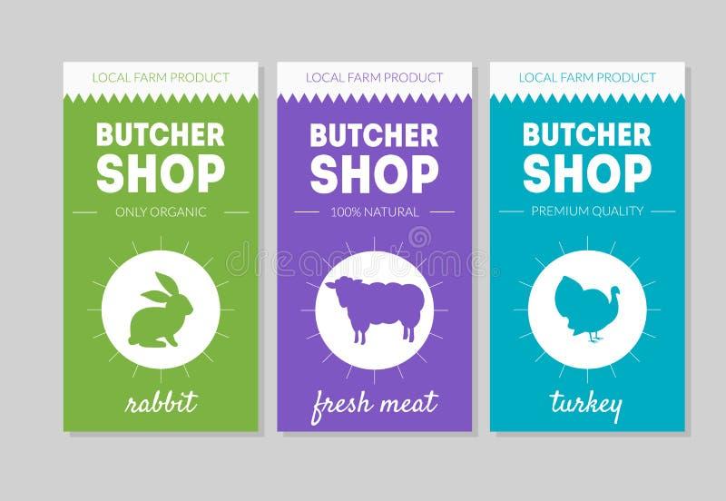 Sistema de Shop Packaging Labels del carnicero, conejo, carne fresca, ejemplo del vector de Turquía ilustración del vector