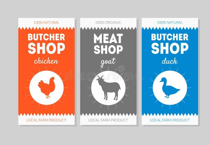 Sistema de Shop Packaging Labels del carnicero, pollo, cabra, Duck Vector Illustration libre illustration