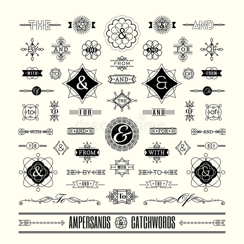 Sistema de signos '&' de los lemas en la línea geométrica marco retro del vintage del art déco de la forma ilustración del vector