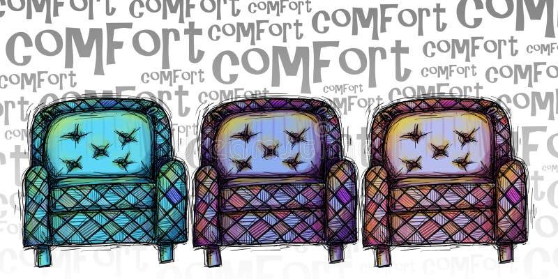 Sistema de sillas antiguas ilustración del vector