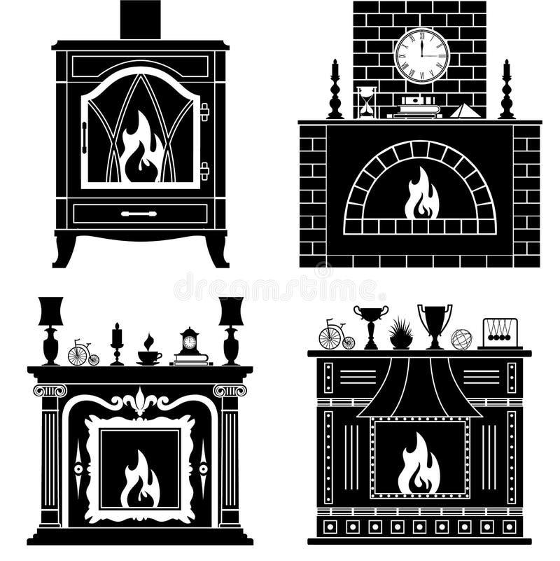 Sistema de siluetas de las chimeneas del vector libre illustration