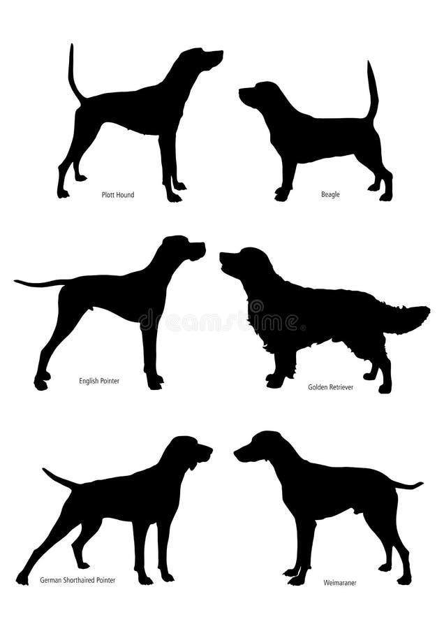Sistema de siluetas de los perros de caza stock de ilustración