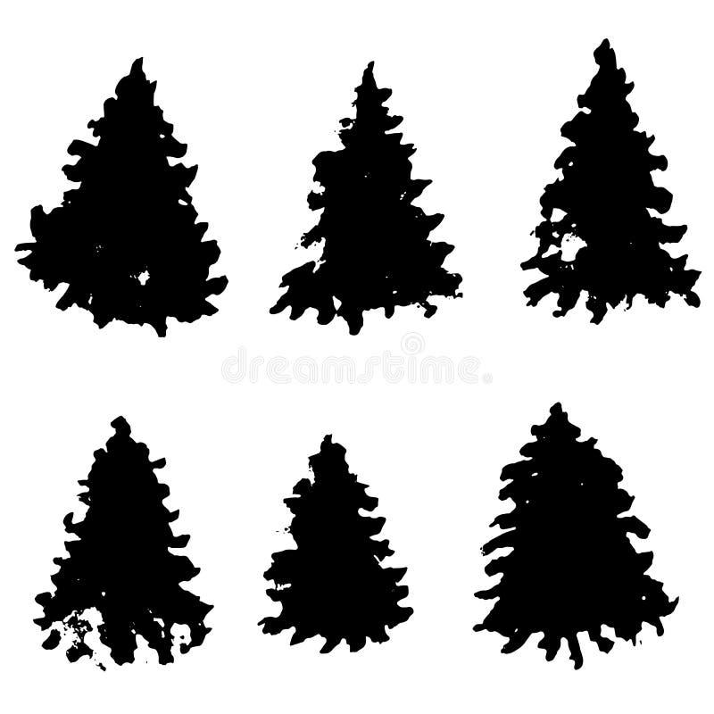 Sistema de siluetas del árbol de abeto Árboles de navidad negros del grunge Piceas de la acuarela aisladas en el fondo blanco Vec stock de ilustración
