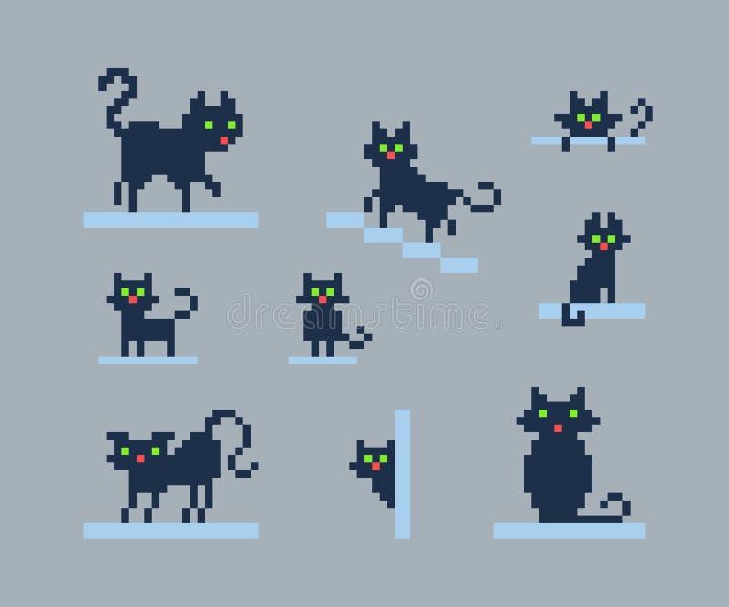Sistema de siluetas del arte del pixel de gatos libre illustration