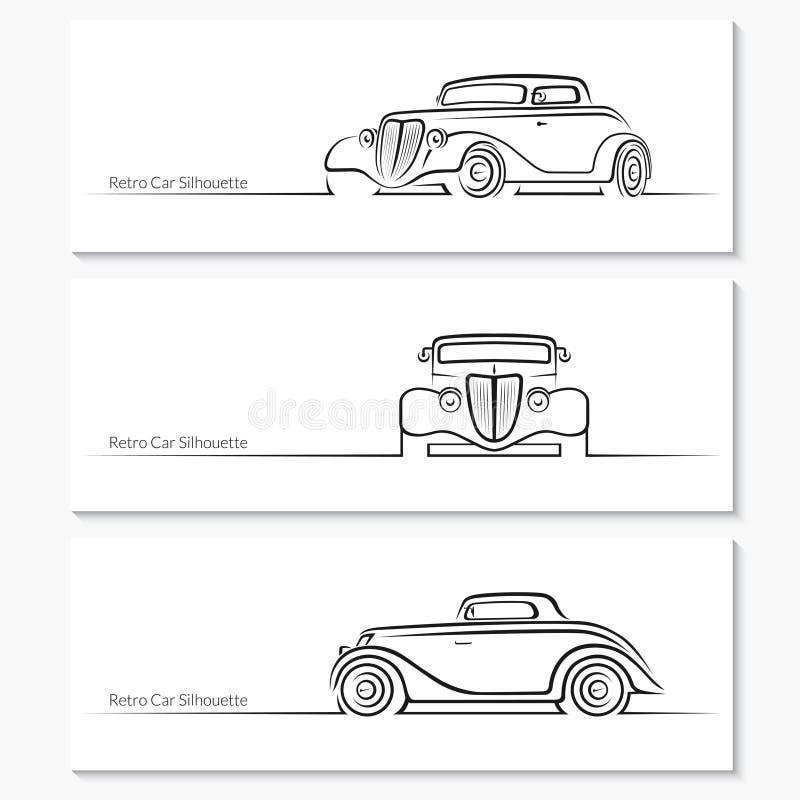 Sistema de siluetas del coche del vintage libre illustration