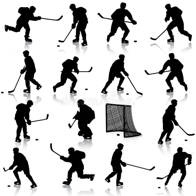 Sistema de siluetas del jugador de hockey. Aislado encendido stock de ilustración