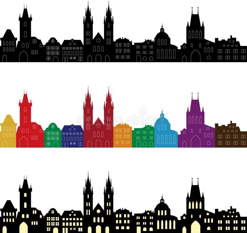 Sistema de siluetas europeas de la ciudad Horizontes inconsútiles en diversos colores stock de ilustración