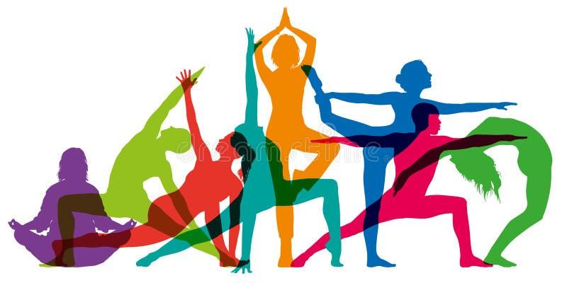 Sistema de siluetas femeninas coloridas que ilustran posiciones de la yoga stock de ilustración