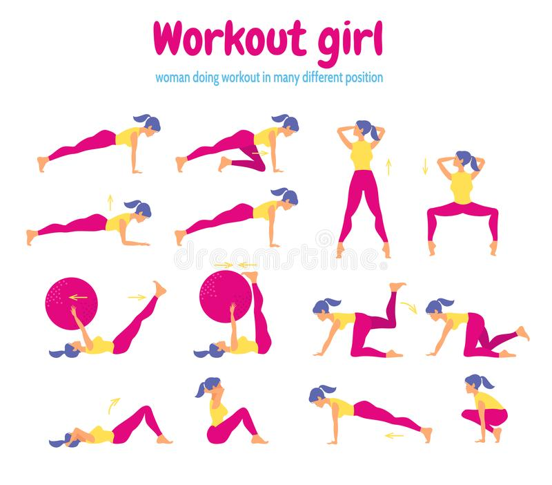 Sistema de siluetas femeninas en gimnasio ilustración del vector
