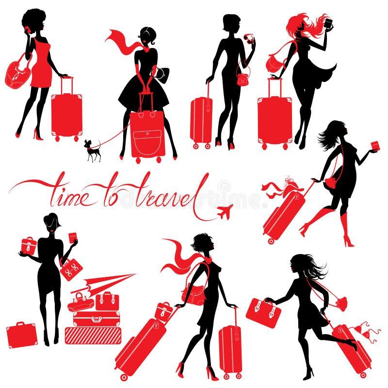 Sistema de siluetas jovenes de la mujer elegante con la maleta aislada ilustración del vector