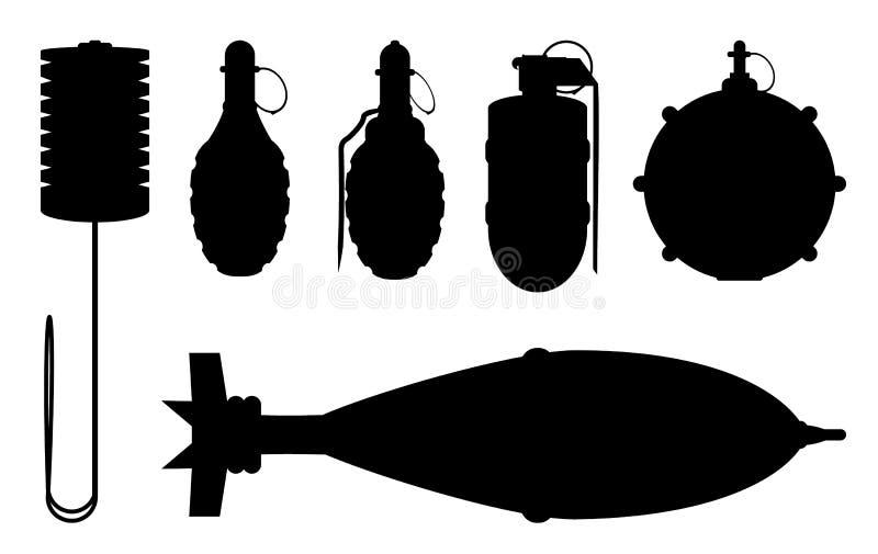 Sistema de siluetas de la granada de mano ilustración del vector
