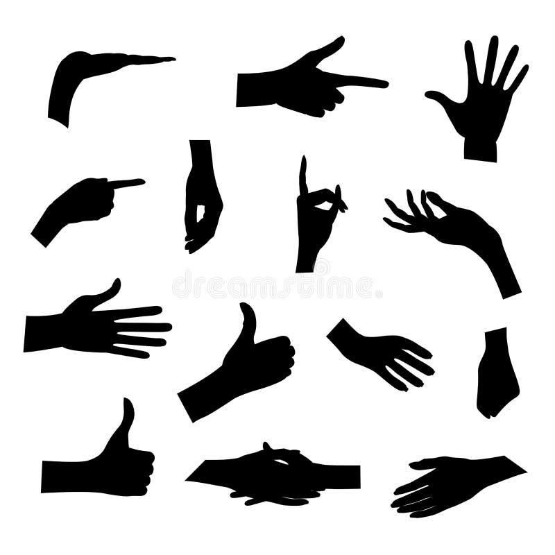 Sistema de siluetas de las manos en diversas actitudes aisladas en el fondo blanco Ilustración del vector Emociones de la colecci ilustración del vector