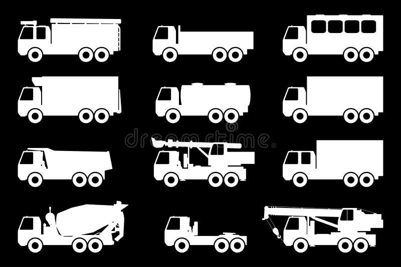 Sistema de siluetas los camiones del cargo libre illustration