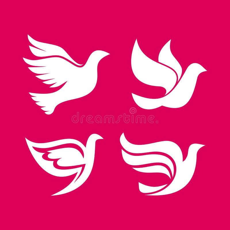 Sistema de siluetas de los logotipos de la paloma libre illustration