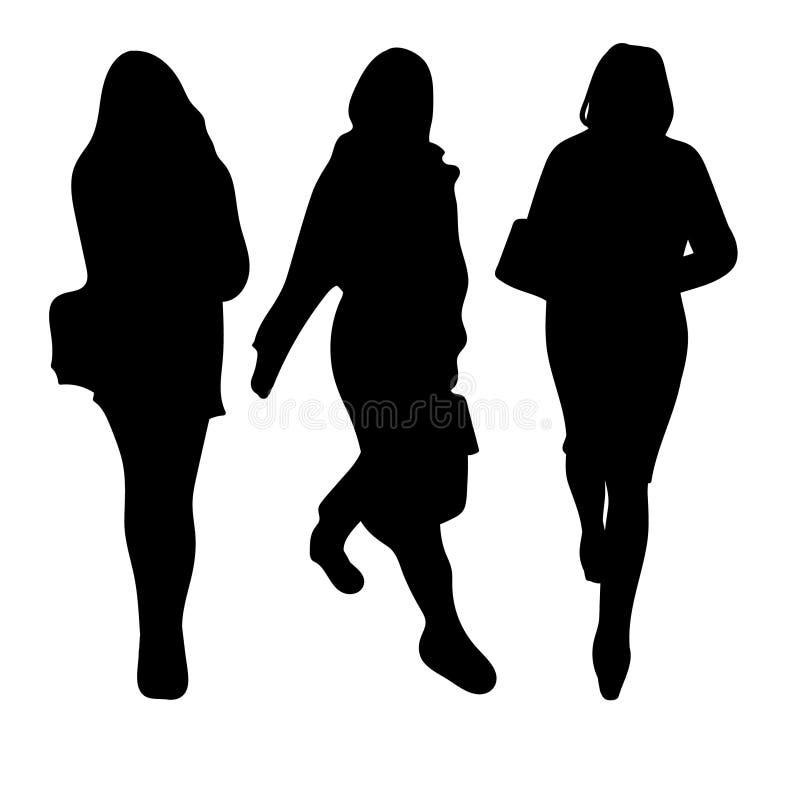Sistema de siluetas negras de una mujer delgada hermosa en el movimiento Tres sombras elegantes ilustración del vector