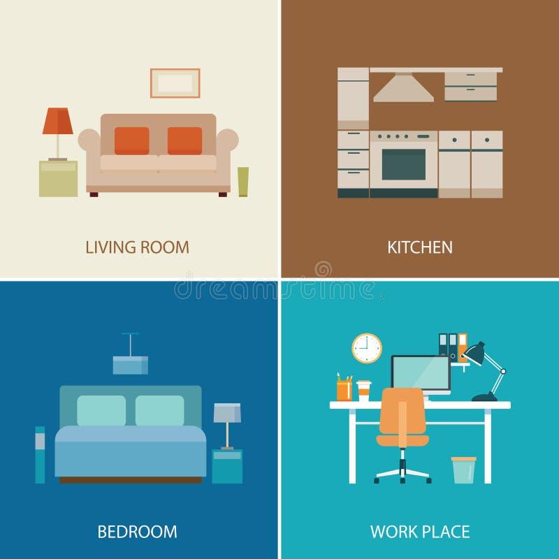 Sistema de sitio de diseño interior stock de ilustración