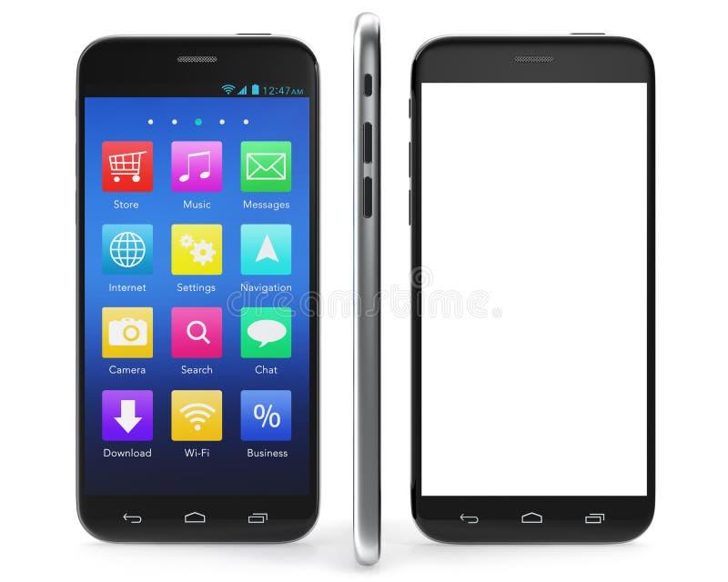 Sistema de smartphone negro con una pantalla en blanco aislada en el fondo blanco, ejemplo 3d libre illustration