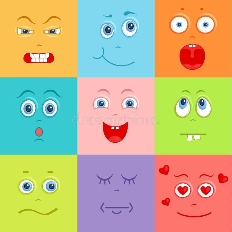 Sistema de smiley del vector Fondo con las caras lindas ilustración del vector