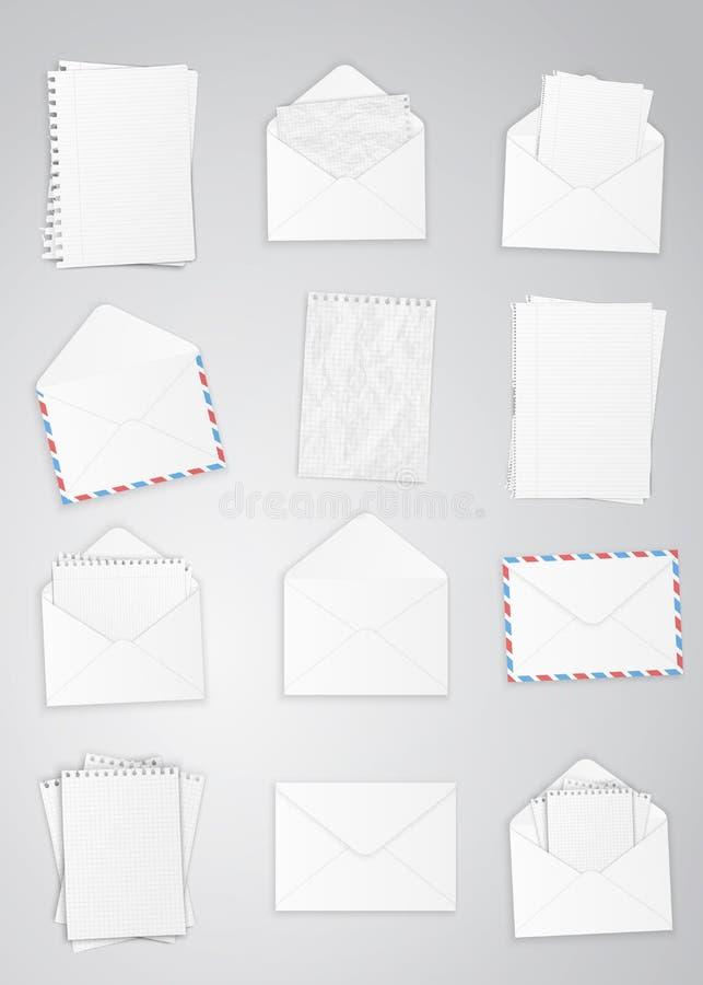 Sistema de sobres y de papel stock de ilustración
