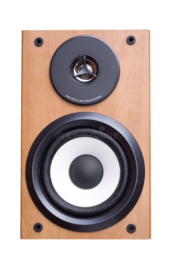 Sistema de som acústico com os dois altofalantes no caso de madeira imagens de stock royalty free