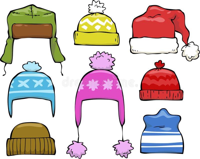 Sistema de sombreros del invierno stock de ilustración