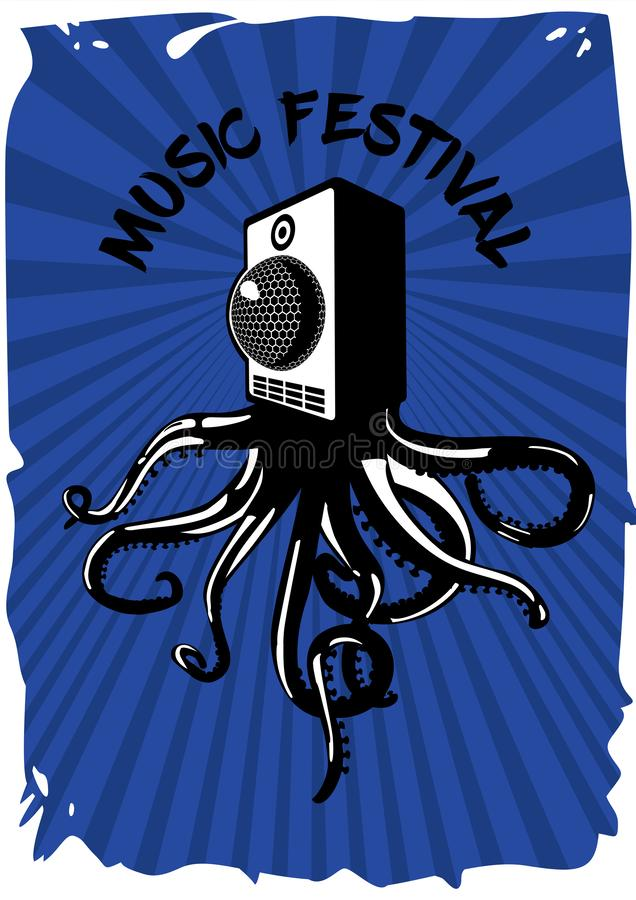 Sistema de sonido del Presidente con el pulpo Cartel del vintage del festival de m?sica Plantilla electrónica de la bandera del p libre illustration