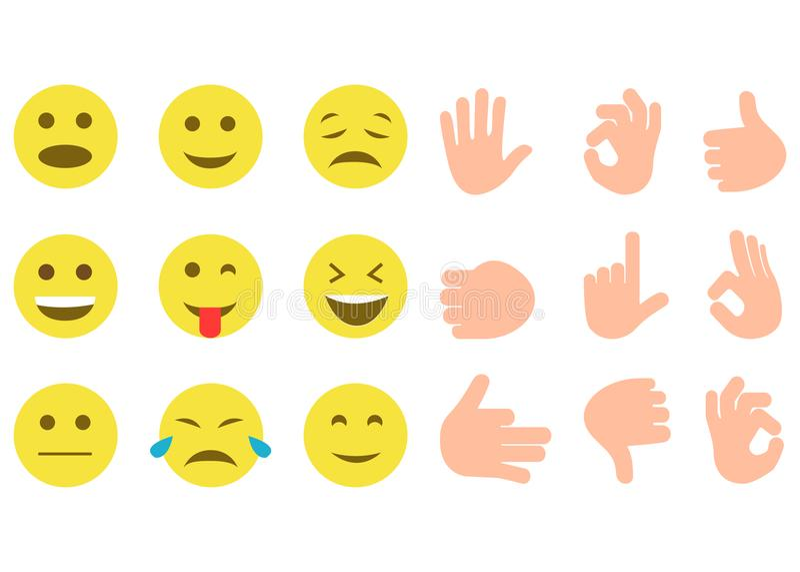 Sistema de sonrisa y de gestos de mano amarillos ilustración del vector
