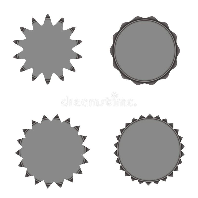 Sistema de starburst del vector, insignias del resplandor solar color gris Etiquetas del vintage, etiquetas engomadas Una colecci stock de ilustración