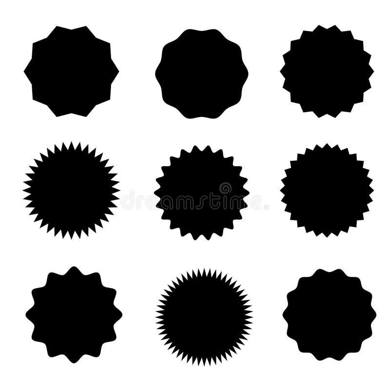 Sistema de starburst del vector, insignias del resplandor solar Nueve diversas formas Etiquetas planas simples del vintage del es stock de ilustración