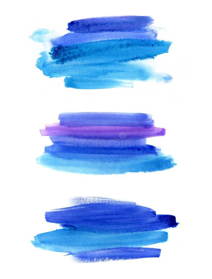 Sistema de stextures azules abstractos de la acuarela libre illustration