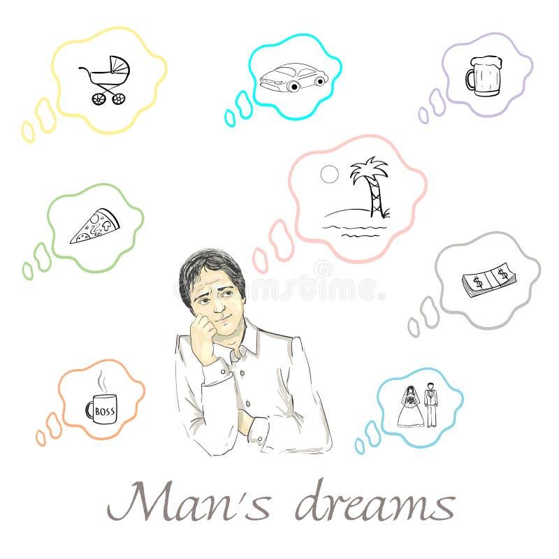 Sistema de sueños del ` s del hombre adentro ilustración del vector