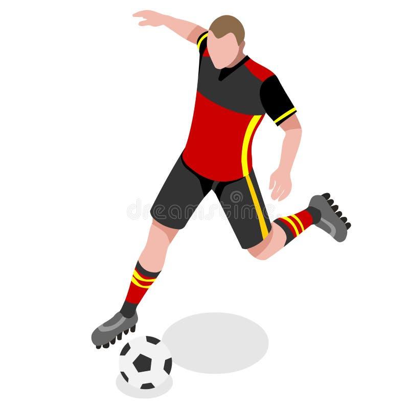 Sistema de Summer Games Icon del atleta del jugador de fútbol atleta isométrico del futbolista 3D Olimpiadas que se divierten la  ilustración del vector