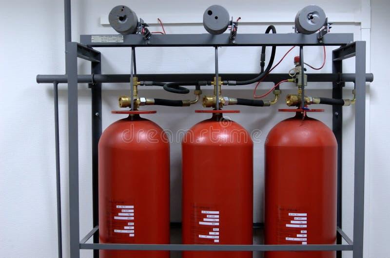 Sistema de supressão do incêndio fotos de stock