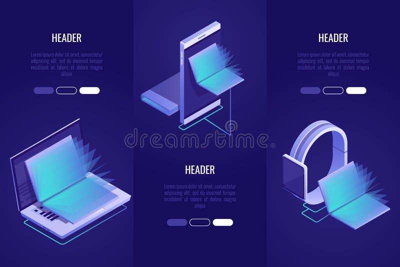 Sistema de 3 títulos conceptuales Tienda de libros en línea, concepto digital de la biblioteca Ordenador portátil y dispositivos  ilustración del vector