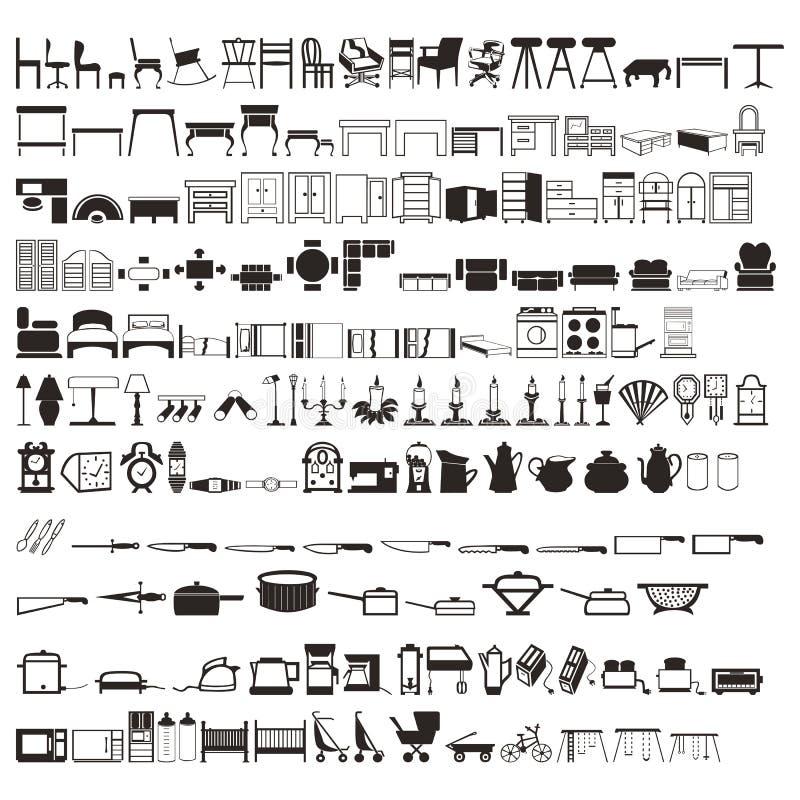 Sistema de tablas de los elementos del hogar de 2 centenares, de camas, de artículos de cocina, de etc siluetas Vector hermoso fotos de archivo
