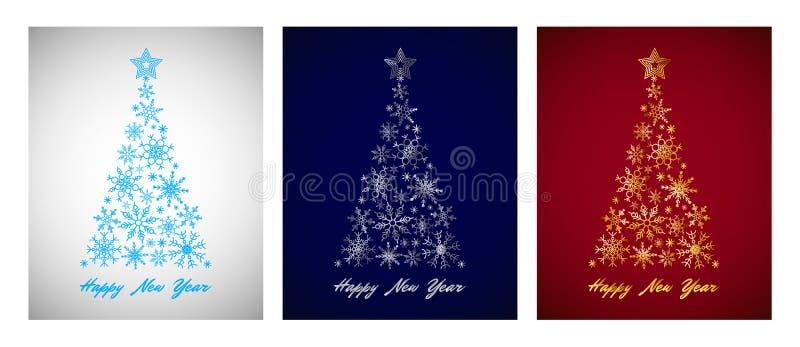 Sistema de tarjeta de ciánico, plata, oro, árbol de navidad del copo de nieve en fondo del color fotos de archivo libres de regalías