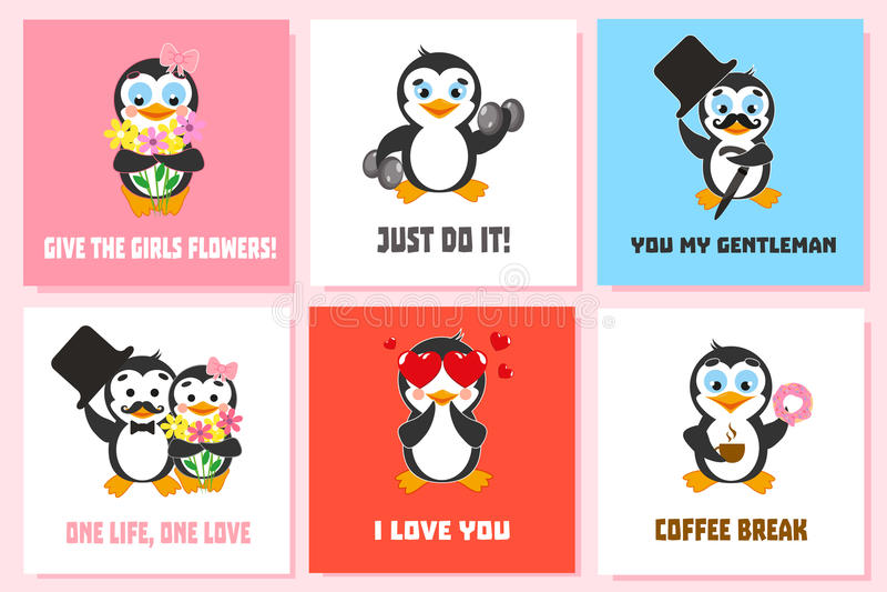 Sistema de tarjeta con los caracteres divertidos del pingüino Te amo Apenas hágalo Dé a muchachas las flores Descanso para tomar  ilustración del vector