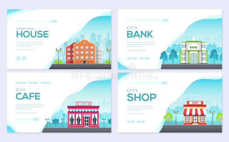 Sistema de tarjeta constructivo del folleto de la ciudad La plantilla de flyear, bandera de la web, jefe de la arquitectura del u libre illustration