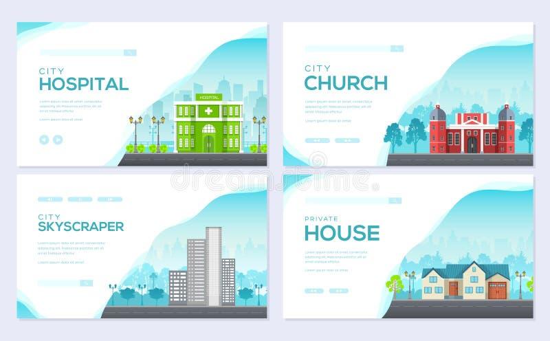 Sistema de tarjeta constructivo del folleto de la ciudad La plantilla de flyear, bandera de la web, jefe de la arquitectura del u stock de ilustración